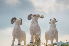 The statues of three celestial rams at Kwun Yam temple Stock Images