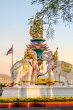 The statues of Three Elephants near Grand Palace, Bangkok, Thailand. The statues of Three Elephants are a symbol of King and located near Grand Palace, Emerald Royalty Free Stock Photos