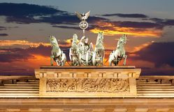 The Statues on top of Brandenburg Gate stock photo