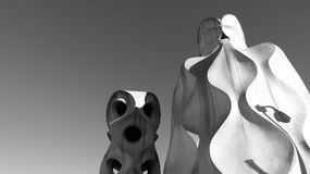 Statues on top of Casa Mila in Barcelona Stock Photography