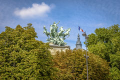 Statues on top of Grand Palais in summer Royalty Free Stock Images