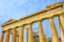 Old Statues Top Parthenon Acropolis Athens Greece Stock Images
