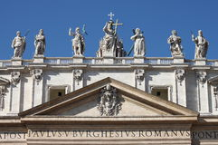 Statues on the top of Saint Peter Basilica facade Royalty Free Stock Photography