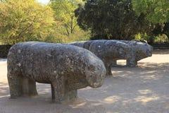 Statues of Toros de Guisando taken in El Tiemblo Spain. Europe royalty free stock images