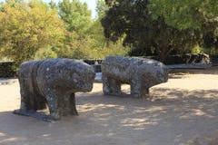 Statues of Toros de Guisando taken in El Tiemblo Spain. Europe stock photo