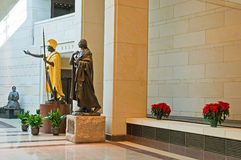 Statues at US Capitol Visitor. Statues of Sacajawea and King Kamehameha, two historical American people, on display at the US Capitol Visitor's Center Stock Image