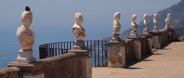Statues with a view over Amalfi Stock Photos