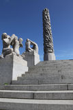 Statues in Vigeland park in Oslo, Norway. The park covers 80 acres and features 212 bronze and granite sculptures created by Gustav Vigeland Royalty Free Stock Photos
