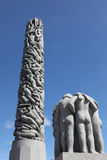 Statues in Vigeland park in Oslo, Norway. The park covers 80 acres and features 212 bronze and granite sculptures created by Gustav Vigeland Royalty Free Stock Photo