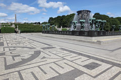 Statues in Vigeland park in Oslo, Norway. On . The park covers 80 acres and features 212 bronze and granite sculptures created by Gustav Vigeland Royalty Free Stock Photo