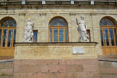 Statues Vigilance and Prudence at an entrance to the Big Gatchina palace. Stock Photo