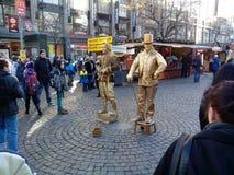 Statues vivantes à Prague, République Tchèque photographie stock libre de droits