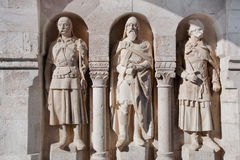 Statues in the wall of Fisherman's Bastion. Budapest, Hungary Stock Image