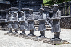 Statues of warriors in Imperial Khai Dinh Tomb in Hue,  Vietnam Royalty Free Stock Image