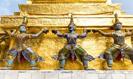 Statues in Wat Po stock photos
