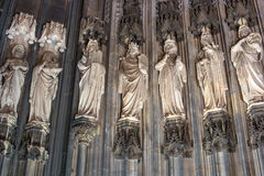 Statues on the Western Facade of the Cologne Cathedral. UNESCO Wold Heritage Site. Royalty Free Stock Photo