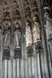 Statues on the Western Facade of the Cologne Cathedral. UNESCO Wold Heritage Site. Royalty Free Stock Image