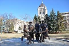 Statues of women. Manitoba Legislative Building in Winnipeg This photo was taken in Winnipeg City, Manitoba Province, Canada Royalty Free Stock Photos