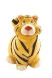 Statuetta della tigre su bianco Fotografia Stock Libera da Diritti