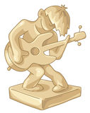 Statuetta dorata del giocatore di chitarra Fotografie Stock Libere da Diritti