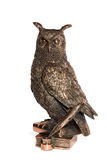 Statuette bronze owl with feather and books Stock Image
