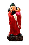 Statuette of Chinese deities. Statuette of the Chinese deity of happiness (Fu-sin) on a white background. Isolated Stock Photos