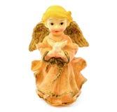 Statuette d'ange de porcelaine avec le pigeon d'isolement sur le fond blanc Photographie stock libre de droits