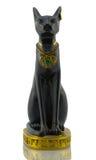 Statuette de chat égyptien noir avec de l'or sur le blanc Images stock