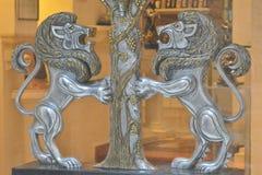 Statuette de deux lions Photographie stock