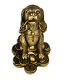 Statuette of dog,. Bronze, isolated on white Royalty Free Stock Image