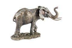 Statuette en bronze d'éléphant sur le blanc images stock