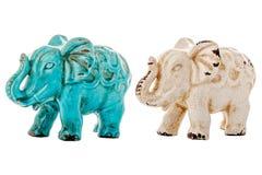 Statuette en céramique d'éléphant, éléphant bleu images stock