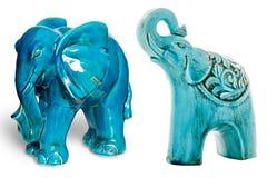 Statuette en céramique d'éléphant, éléphant bleu image libre de droits