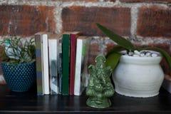 Statuette en céramique de Ganesh, de livres et de pots de fleur avec des usines sur la commode en bois noire sur un fond rouge de Photo libre de droits