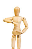 Statuette figure wooden man human makes shows experiences emotio Stock Photography