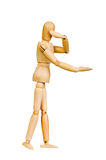 Statuette figure wooden man human makes shows experiences emotional action on a white background. Stock Photos