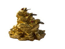Statuette of frog with a coin Royalty Free Stock Photography