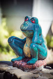 Statuette of a green frog. Close-up, funny Royalty Free Stock Photo