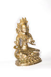 Statuette of Green Tara on a white background Royalty Free Stock Photos