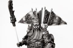 Statuette Of Guan Yu. Black and white Statuette Of Guan Yu Stock Photo