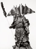 Statuette Of Guan Yu. Black and white Statuette Of Guan Yu Stock Photography