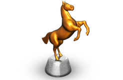 Statuette of horse. Golden statuette of horse, 3d render Royalty Free Stock Photography