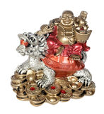 Statuette of Hotei (Buddha) to the dragon Royalty Free Stock Image