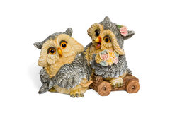 Statuette of two lovers owls Royalty Free Stock Photo