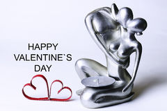 Statuette valentine with text Stock Photos