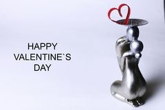 Statuette valentine with text Stock Image