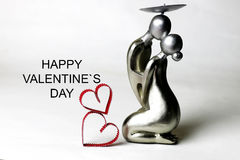 Statuette valentine with text Royalty Free Stock Photo