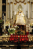 The statuette of the Virgin Mary at the Cathedral of Antwerp Stock Photos