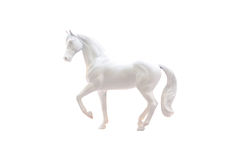 Statuette of white horse isolated. On white stock photo