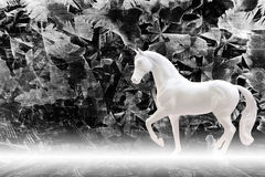 Statuette of white horse isolated on zinc sheet background with. Mist, fairy tale concept royalty free stock photos